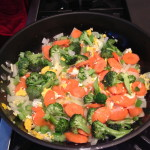 Fried rice with broccoli and carrots