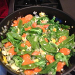 Fried rice with broccoli carrots and snow peas
