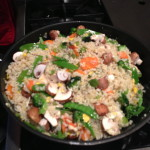 fried rice with broccoli, carrots, snow peas, brown rice and bella mushrooms